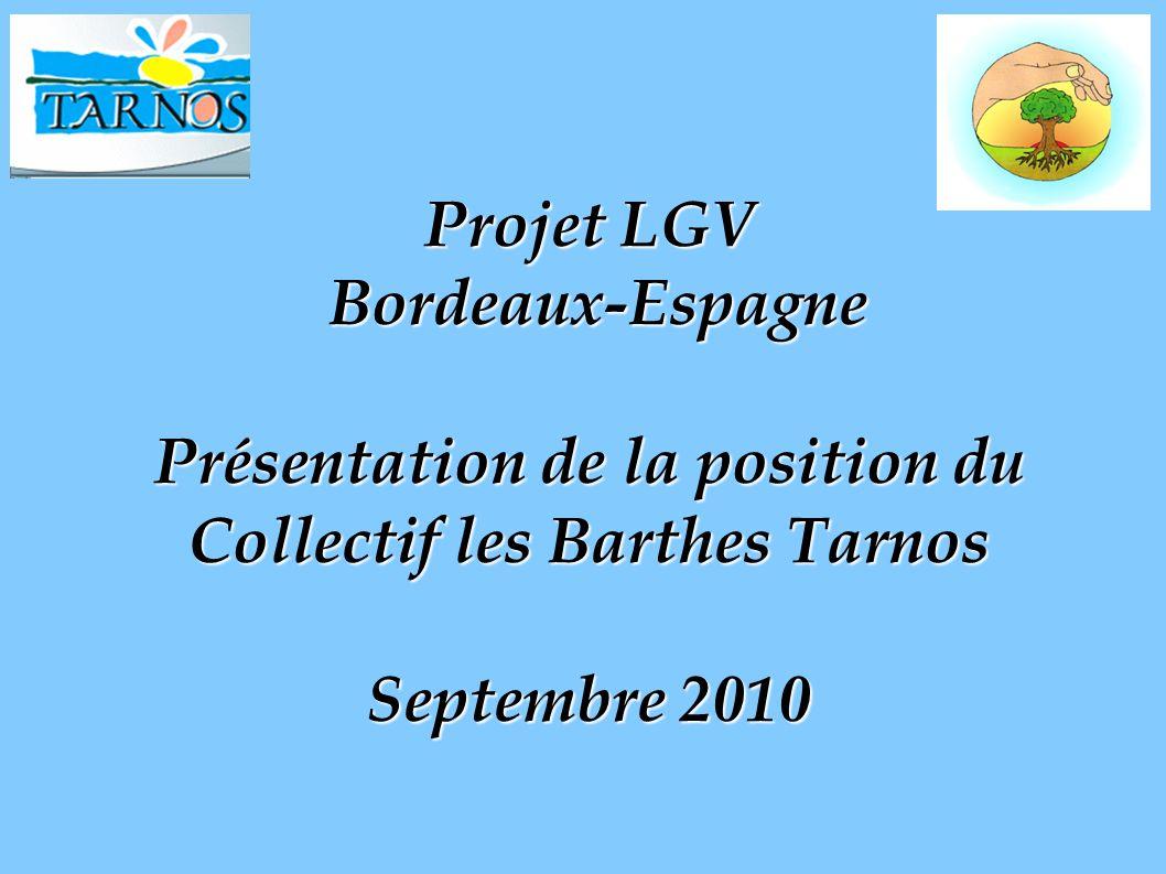 Projet LGV Bordeaux-Espagne Présentation de la position du Collectif les Barthes Tarnos Septembre 2010