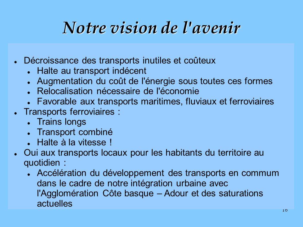 16 Notre vision de l'avenir Décroissance des transports inutiles et coûteux Halte au transport indécent Augmentation du coût de l'énergie sous toutes