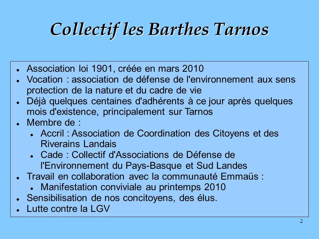 2 Collectif les Barthes Tarnos Association loi 1901, créée en mars 2010 Vocation : association de défense de l'environnement aux sens protection de la