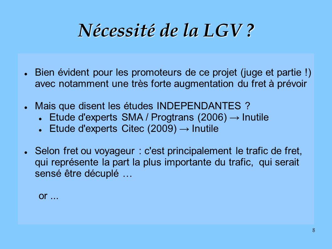 8 Nécessité de la LGV ? Bien évident pour les promoteurs de ce projet (juge et partie !) avec notamment une très forte augmentation du fret à prévoir