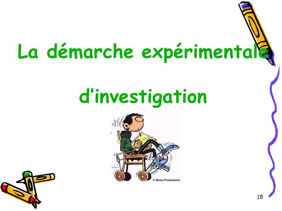 15 La démarche expérimentale d'investigation