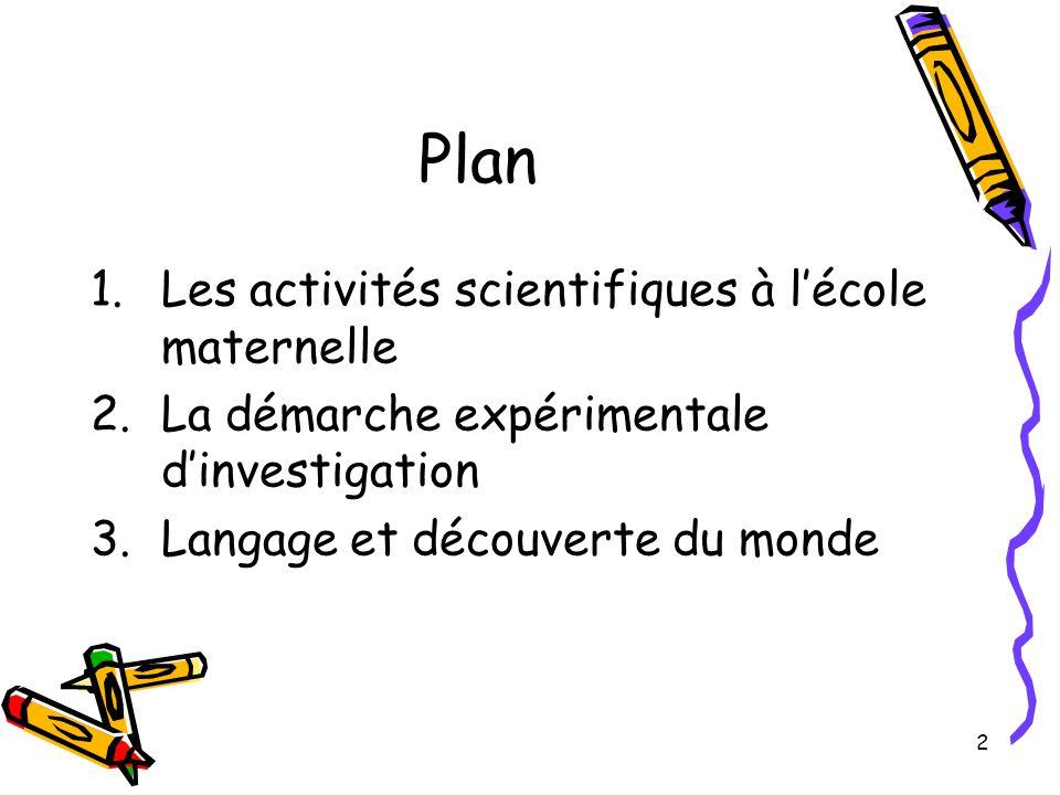 2 Plan 1.Les activités scientifiques à l'école maternelle 2.La démarche expérimentale d'investigation 3.Langage et découverte du monde