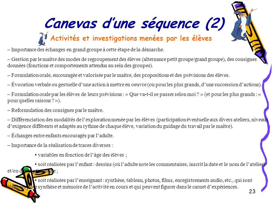 23 Canevas d'une séquence (2) Activités et investigations menées par les élèves – Importance des échanges en grand groupe à cette étape de la démarche.
