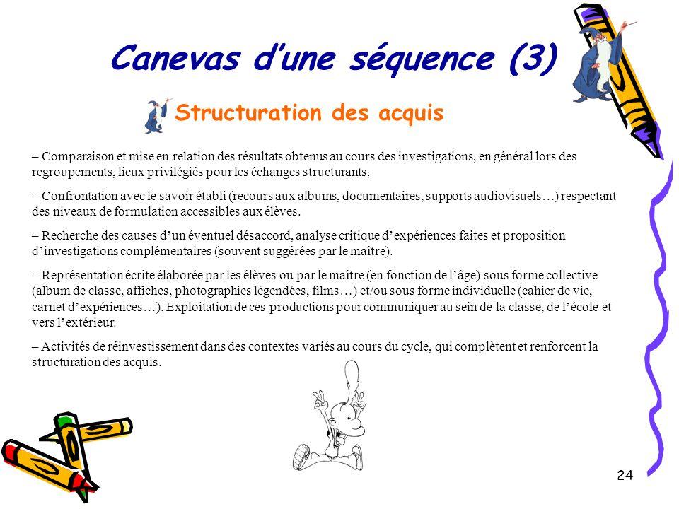 24 Canevas d'une séquence (3) Structuration des acquis – Comparaison et mise en relation des résultats obtenus au cours des investigations, en général lors des regroupements, lieux privilégiés pour les échanges structurants.