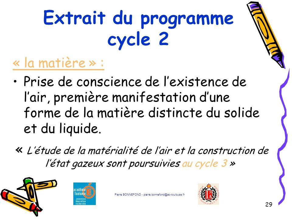 29 Extrait du programme cycle 2 « la matière » : Prise de conscience de l'existence de l'air, première manifestation d'une forme de la matière distincte du solide et du liquide.