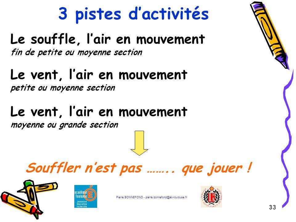33 3 pistes d'activités Pierre BONNEFOND - pierre.bonnefond@ac-toulouse.fr Souffler n'est pas …….. que jouer ! Le souffle, l'air en mouvement fin de p