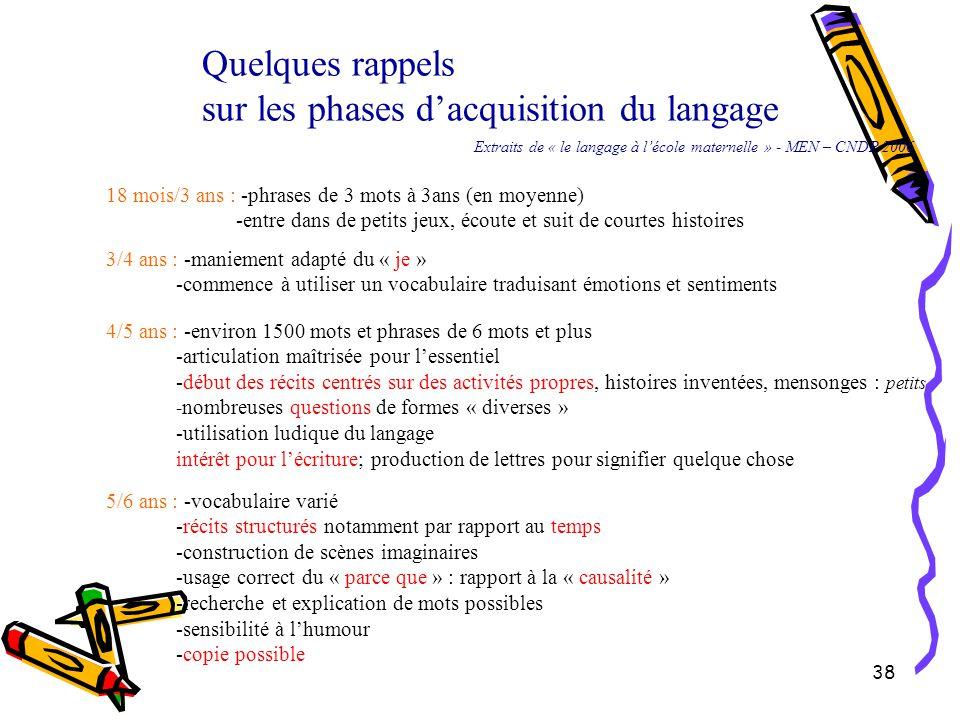 38 Quelques rappels sur les phases d'acquisition du langage Extraits de « le langage à l'école maternelle » - MEN – CNDP 2006 18 mois/3 ans : -phrases