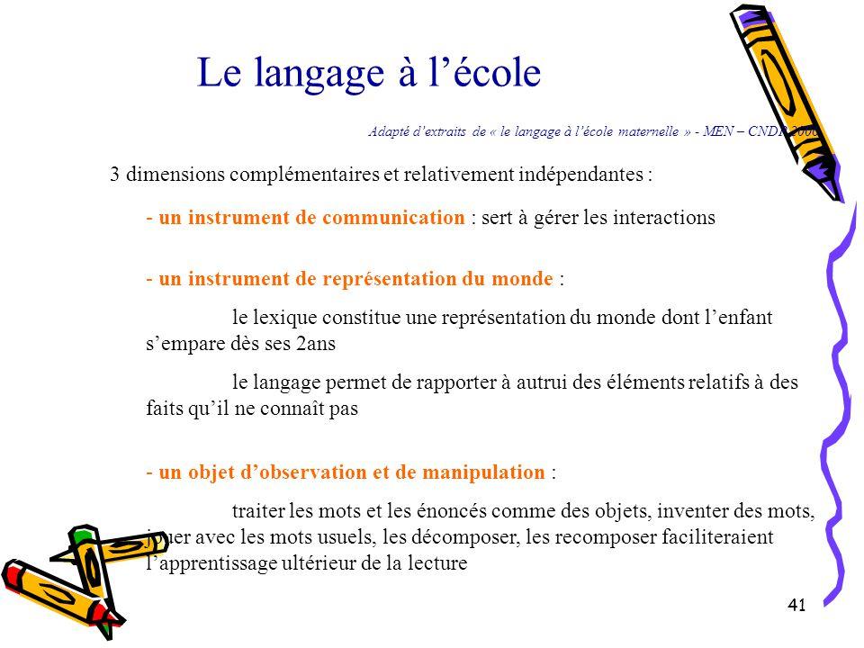 41 Le langage à l'école 3 dimensions complémentaires et relativement indépendantes : - un objet d'observation et de manipulation : traiter les mots et