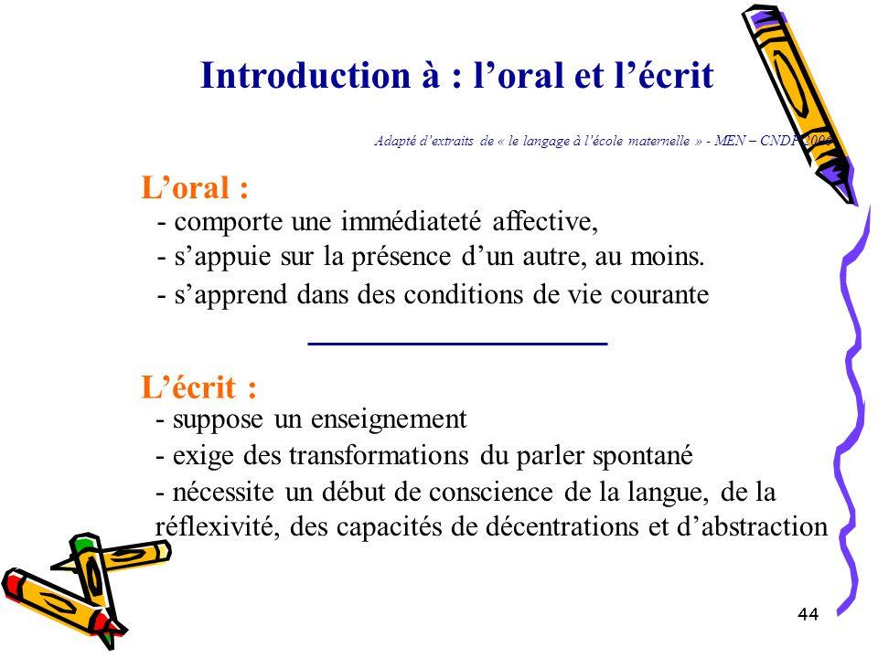 44 Introduction à : l'oral et l'écrit L'oral : - comporte une immédiateté affective, - s'appuie sur la présence d'un autre, au moins. - s'apprend dans