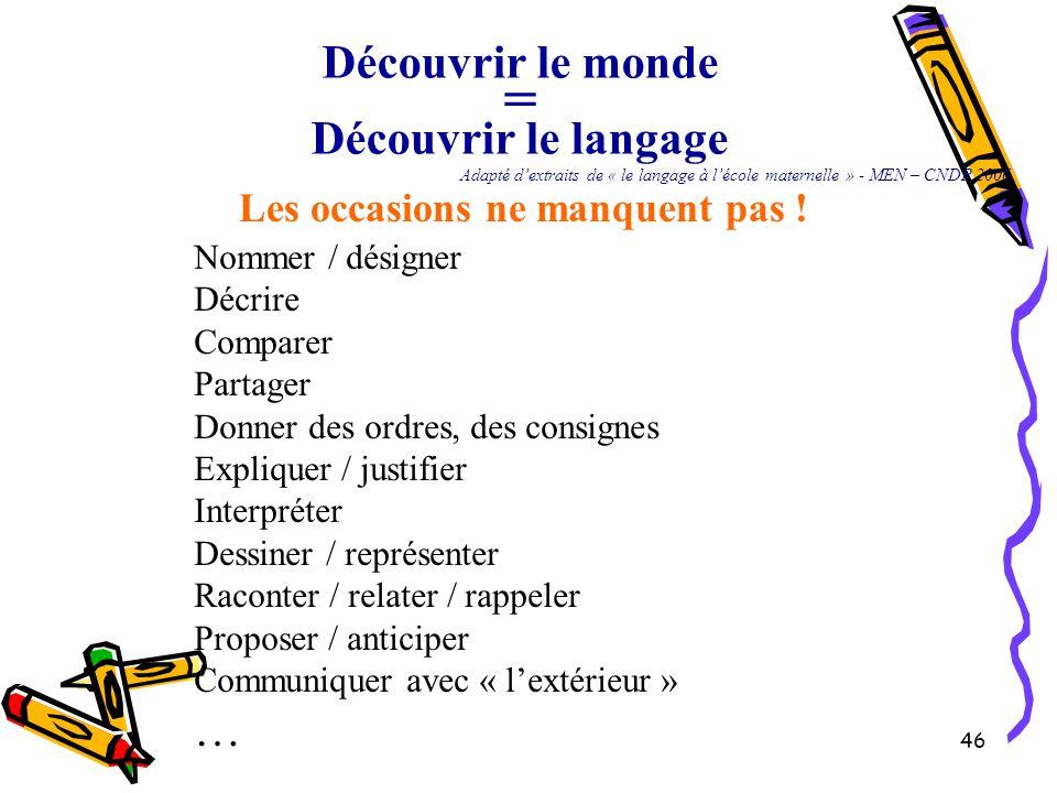 46 Découvrir le monde = Découvrir le langage Adapté d'extraits de « le langage à l'école maternelle » - MEN – CNDP 2006 Les occasions ne manquent pas .
