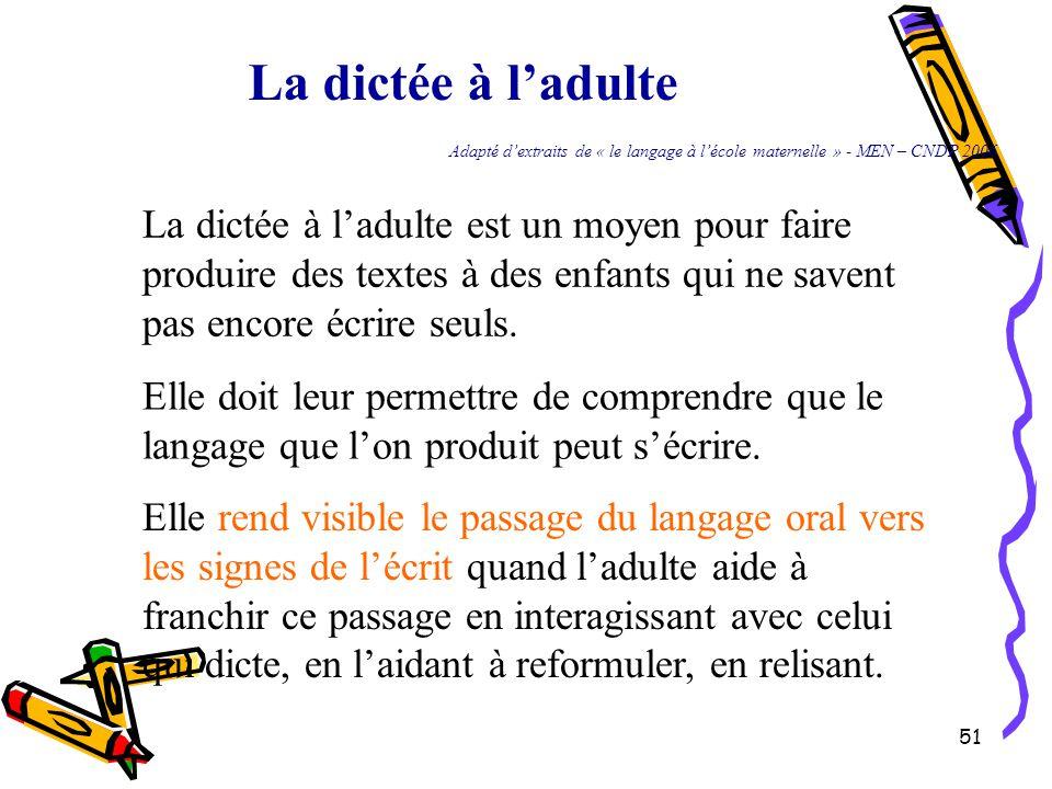 51 La dictée à l'adulte Adapté d'extraits de « le langage à l'école maternelle » - MEN – CNDP 2006 La dictée à l'adulte est un moyen pour faire produire des textes à des enfants qui ne savent pas encore écrire seuls.