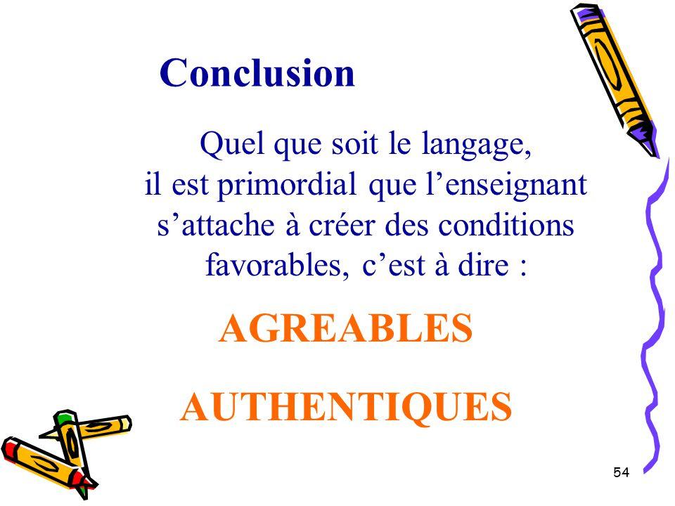 54 Quel que soit le langage, il est primordial que l'enseignant s'attache à créer des conditions favorables, c'est à dire : AUTHENTIQUES Conclusion AGREABLES