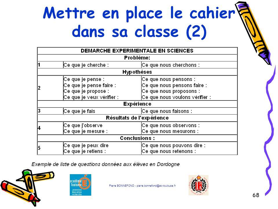 68 Mettre en place le cahier dans sa classe (2) Pierre BONNEFOND - pierre.bonnefond@ac-toulouse.fr