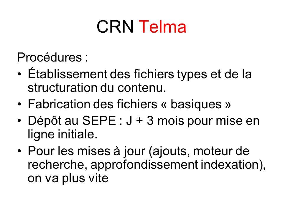 CRN Telma Procédures : Établissement des fichiers types et de la structuration du contenu.
