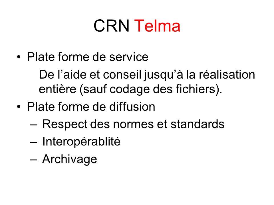 CRN Telma Plate forme de service De l'aide et conseil jusqu'à la réalisation entière (sauf codage des fichiers).