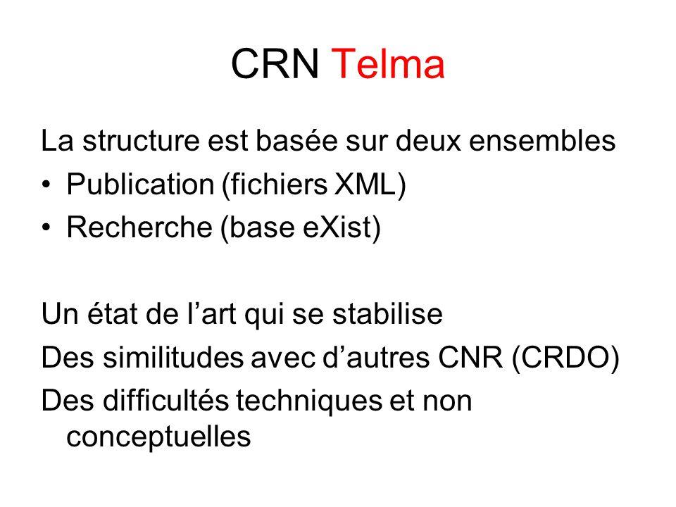 CRN Telma La structure est basée sur deux ensembles Publication (fichiers XML) Recherche (base eXist) Un état de l'art qui se stabilise Des similitudes avec d'autres CNR (CRDO) Des difficultés techniques et non conceptuelles