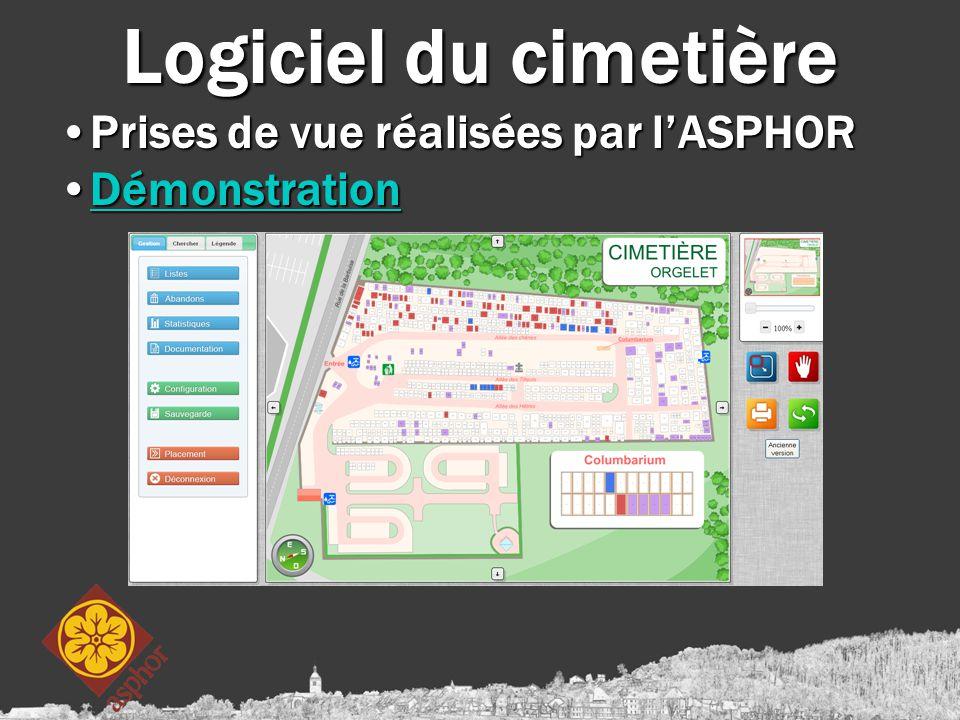 Logiciel du cimetière Prises de vue réalisées par l'ASPHORPrises de vue réalisées par l'ASPHOR DémonstrationDémonstrationDémonstration