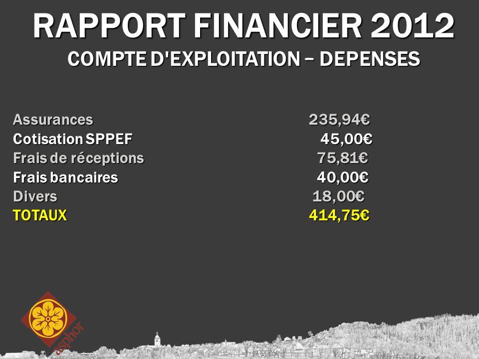 RAPPORT FINANCIER 2012 COMPTE D EXPLOITATION – DEPENSES Assurances 235,94€ Cotisation SPPEF 45,00€ Frais de réceptions 75,81€ Frais bancaires 40,00€ Divers 18,00€ TOTAUX 414,75€