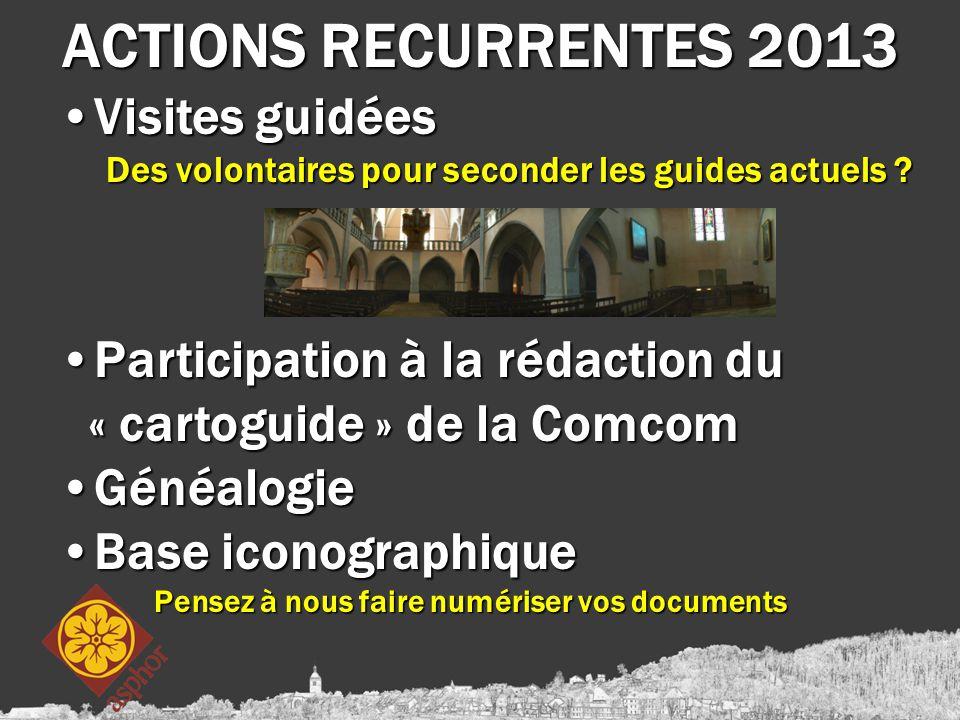 ACTIONS RECURRENTES 2013 Visites guidéesVisites guidées Des volontaires pour seconder les guides actuels ? Participation à la rédaction du « cartoguid