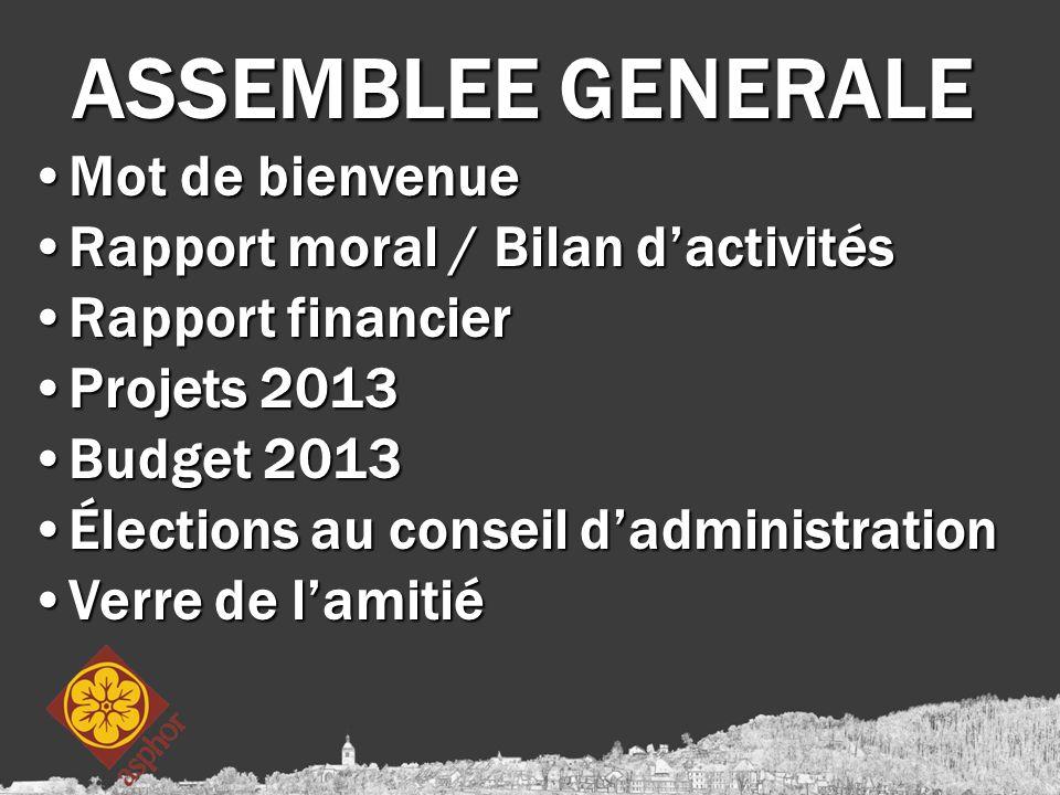 ASSEMBLEE GENERALE Mot de bienvenueMot de bienvenue Rapport moral / Bilan d'activitésRapport moral / Bilan d'activités Rapport financierRapport financ