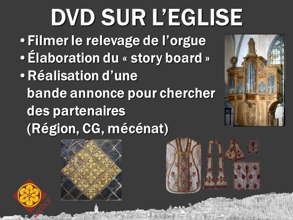 DVD SUR L'EGLISE Filmer le relevage de l'orgueFilmer le relevage de l'orgue Élaboration du « story board »Élaboration du « story board » Réalisation d