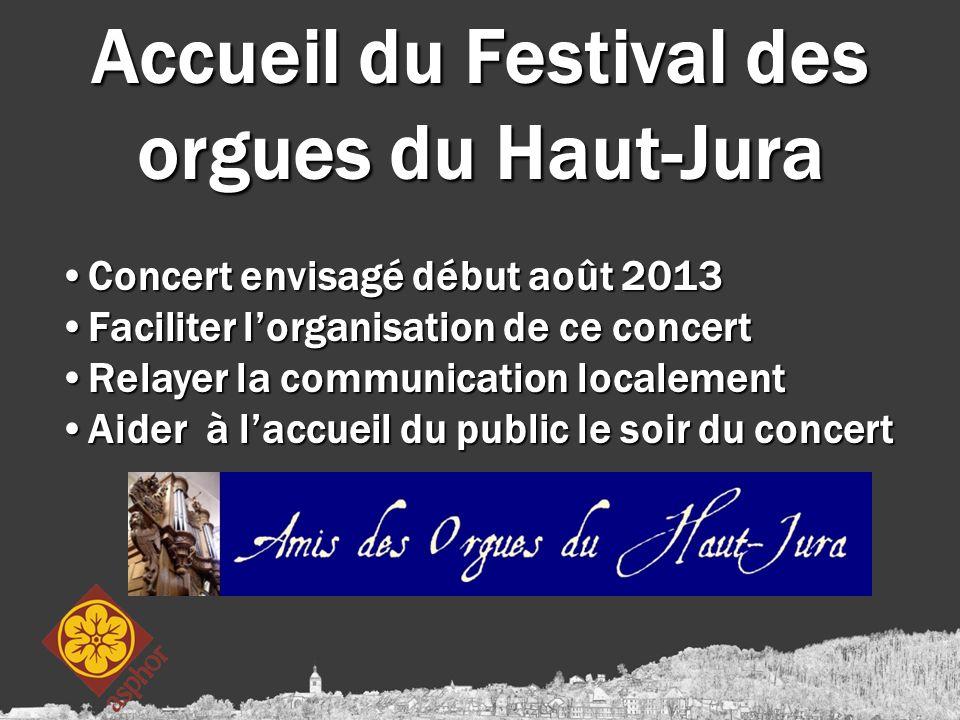 Accueil du Festival des orgues du Haut-Jura Concert envisagé début août 2013Concert envisagé début août 2013 Faciliter l'organisation de ce concertFac