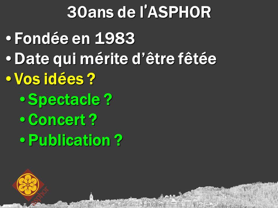 30ans de l ' ASPHOR Fondée en 1983Fondée en 1983 Date qui mérite d'être fêtéeDate qui mérite d'être fêtée Vos idées ?Vos idées ? Spectacle ?Spectacle
