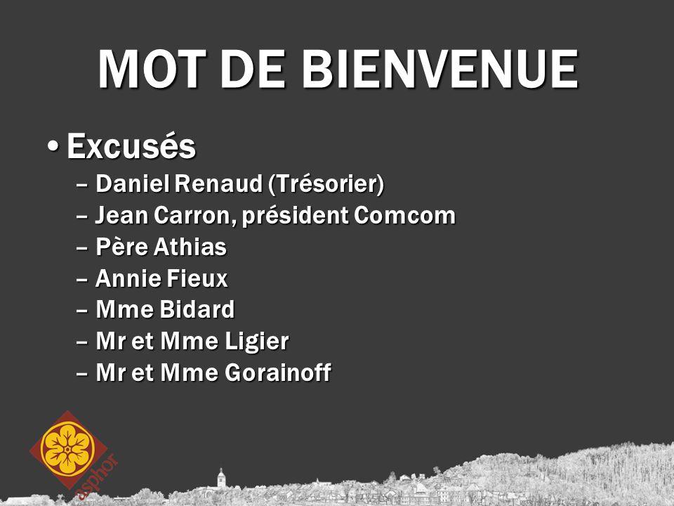 MOT DE BIENVENUE ExcusésExcusés –Daniel Renaud (Trésorier) –Jean Carron, président Comcom –Père Athias –Annie Fieux –Mme Bidard –Mr et Mme Ligier –Mr et Mme Gorainoff