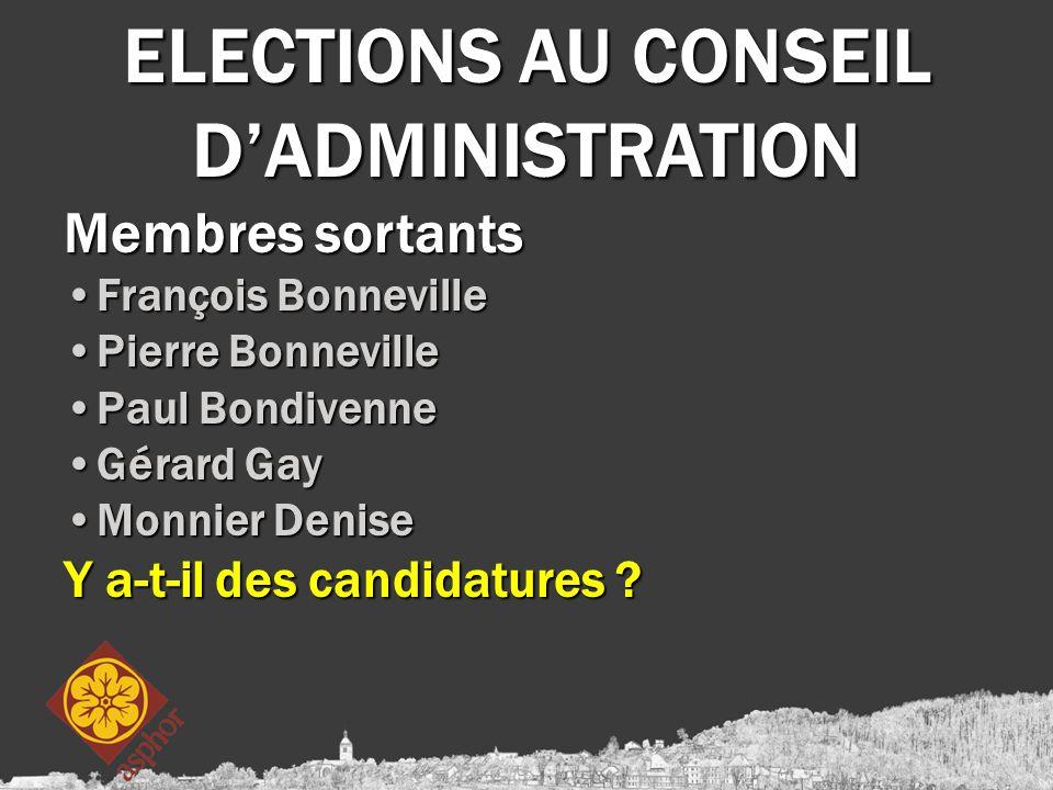 ELECTIONS AU CONSEIL D'ADMINISTRATION Membres sortants François BonnevilleFrançois Bonneville Pierre BonnevillePierre Bonneville Paul BondivennePaul B