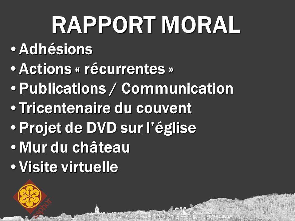 RAPPORT MORAL AdhésionsAdhésions Actions « récurrentes »Actions « récurrentes » Publications / CommunicationPublications / Communication Tricentenaire