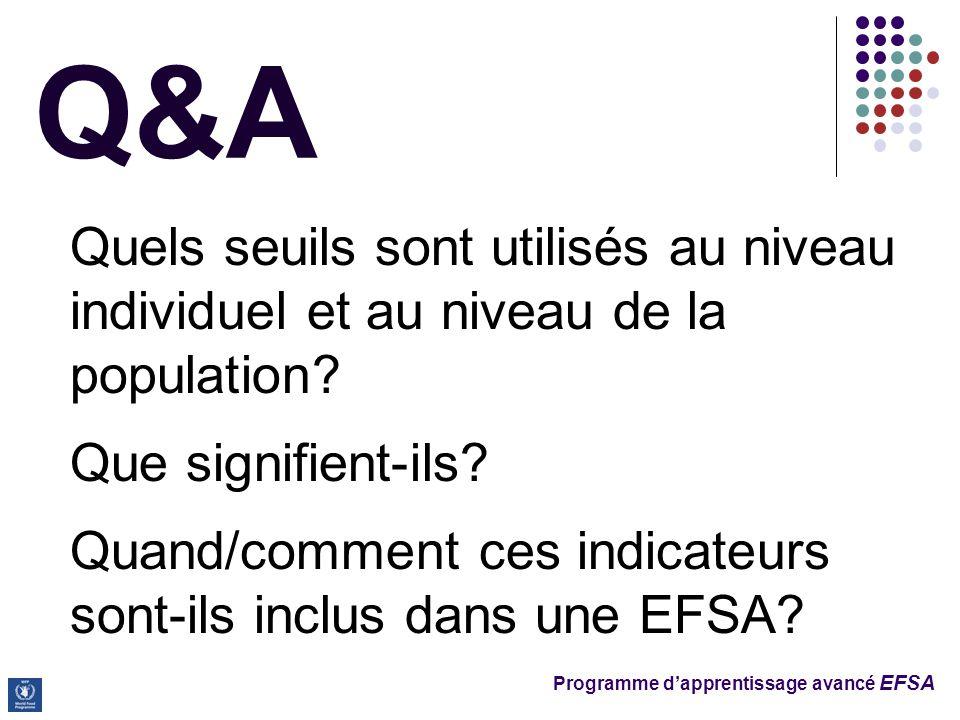 Programme d'apprentissage avancé EFSA Q&A Quels seuils sont utilisés au niveau individuel et au niveau de la population.