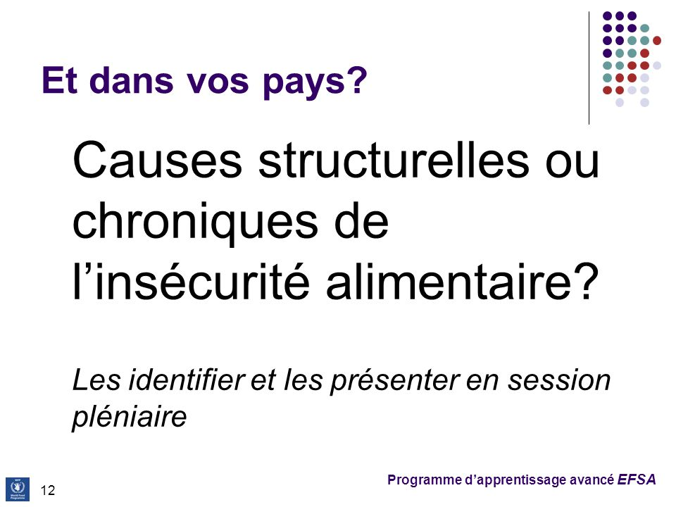 Programme d'apprentissage avancé EFSA Et dans vos pays?  Causes structurelles ou chroniques de l'insécurité alimentaire?  Les identifier et les prés