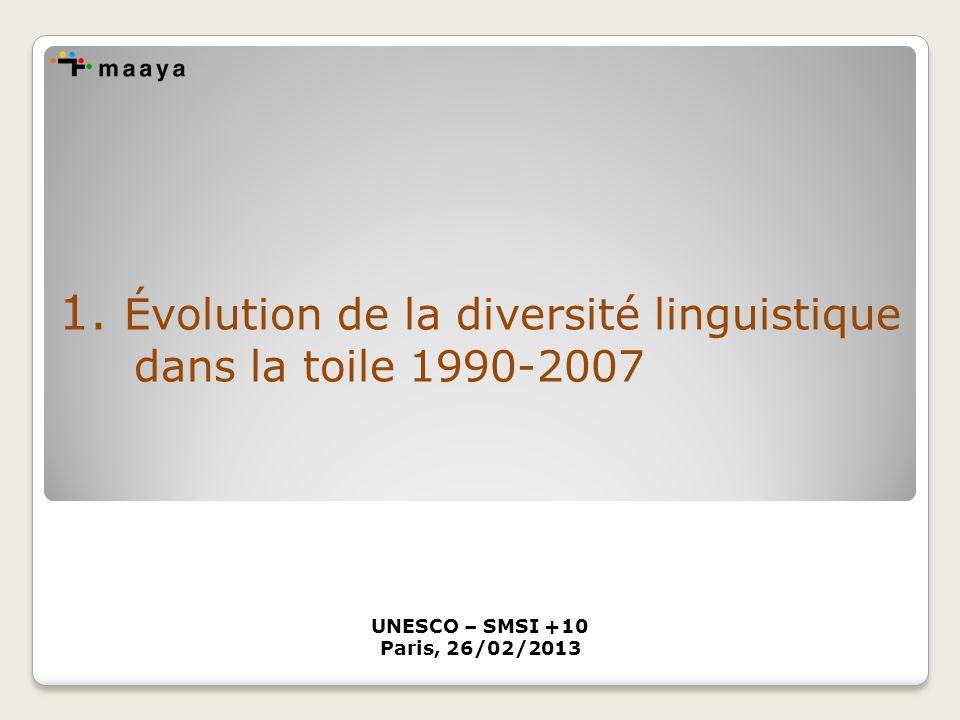 1. Évolution de la diversité linguistique dans la toile 1990-2007 UNESCO – SMSI +10 Paris, 26/02/2013