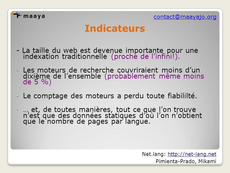 contact@maayajo.org - La taille du web est devenue importante pour une indexation traditionnelle (proche de l'infini!).