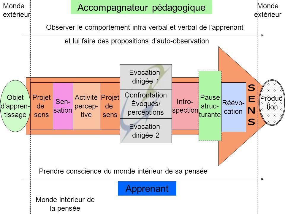 Evocation dirigée 1 Projet de sens Sen- sation Activité percep- tive Projet de sens Confrontation Évoqués/ perceptions Evocation dirigée 2 Intro- spec