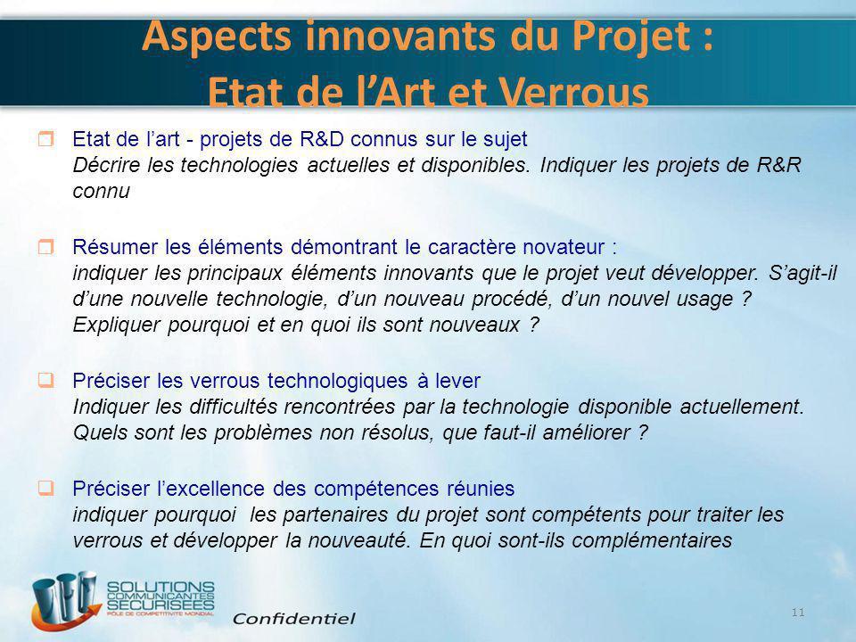 Aspects innovants du Projet : Etat de l'Art et Verrous 11  Etat de l'art - projets de R&D connus sur le sujet Décrire les technologies actuelles et d