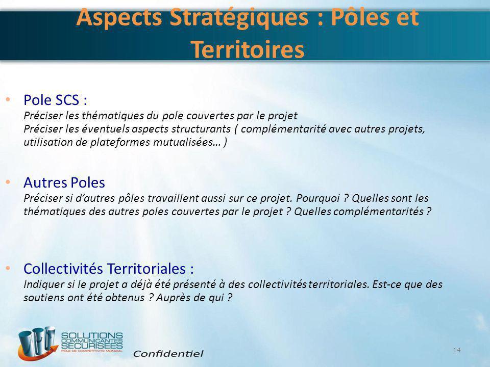 Aspects Stratégiques : Pôles et Territoires Pole SCS : Préciser les thématiques du pole couvertes par le projet Préciser les éventuels aspects structu