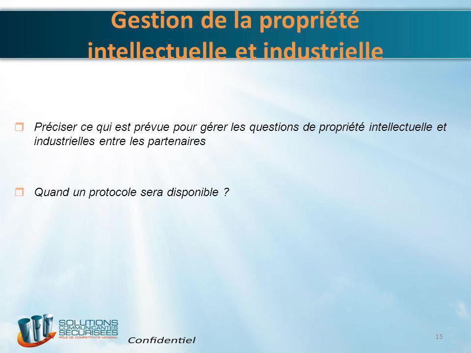 Gestion de la propriété intellectuelle et industrielle 15  Préciser ce qui est prévue pour gérer les questions de propriété intellectuelle et industr