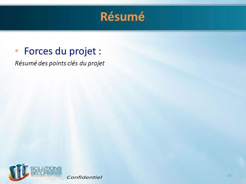 Résumé Forces du projet : Résumé des points clés du projet 20
