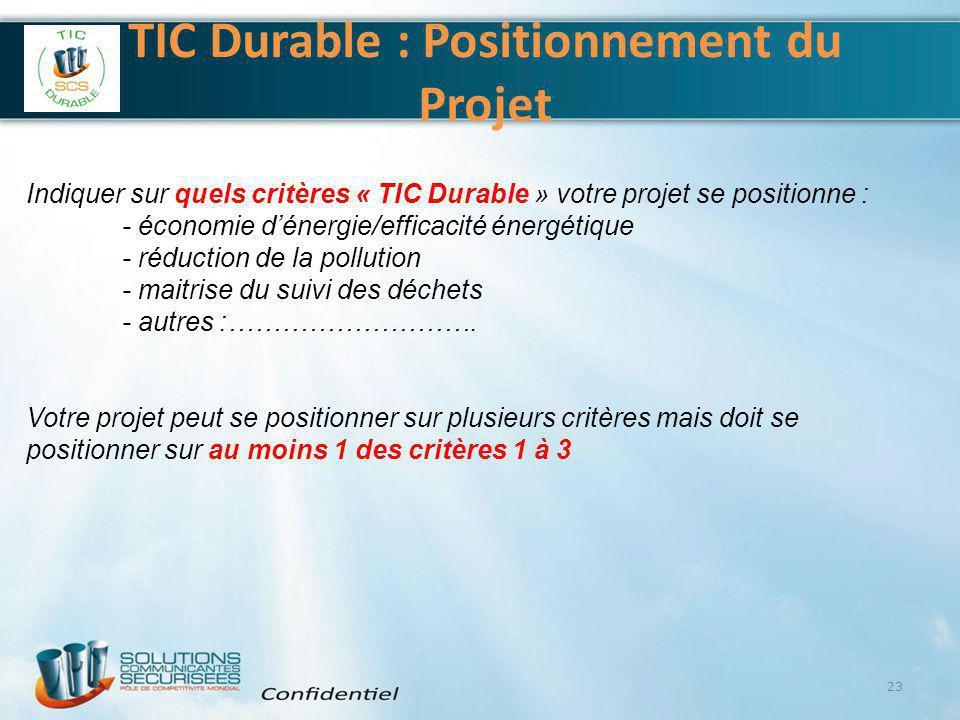 TIC Durable : Positionnement du Projet 23 Indiquer sur quels critères « TIC Durable » votre projet se positionne : - économie d'énergie/efficacité éne