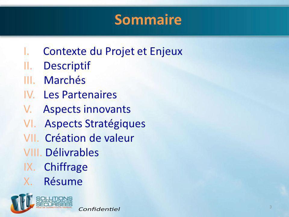 Sommaire I. Contexte du Projet et Enjeux II. Descriptif III. Marchés IV. Les Partenaires V. Aspects innovants VI. Aspects Stratégiques VII. Création d