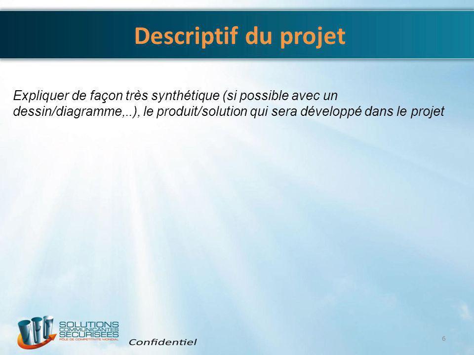 Descriptif du projet 6 Expliquer de façon très synthétique (si possible avec un dessin/diagramme,..), le produit/solution qui sera développé dans le p