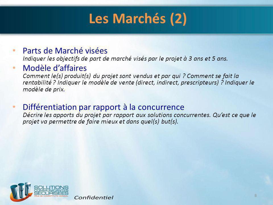 Les Marchés (2) Parts de Marché visées Indiquer les objectifs de part de marché visés par le projet à 3 ans et 5 ans. Modèle d'affaires Comment le(s)
