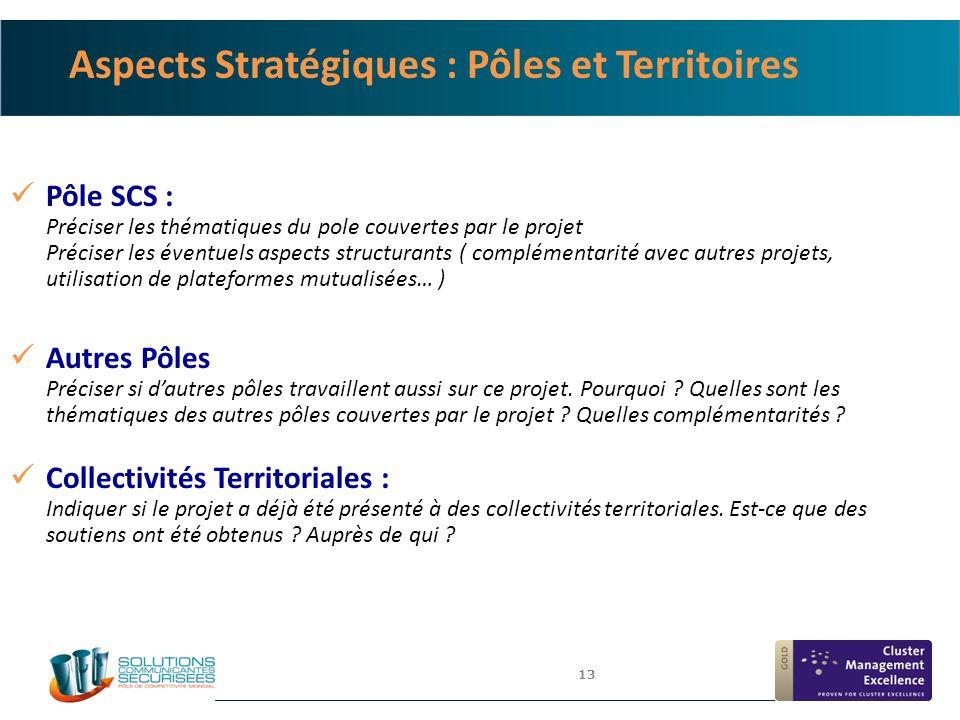 13 Aspects Stratégiques : Pôles et Territoires Pôle SCS : Préciser les thématiques du pole couvertes par le projet Préciser les éventuels aspects stru