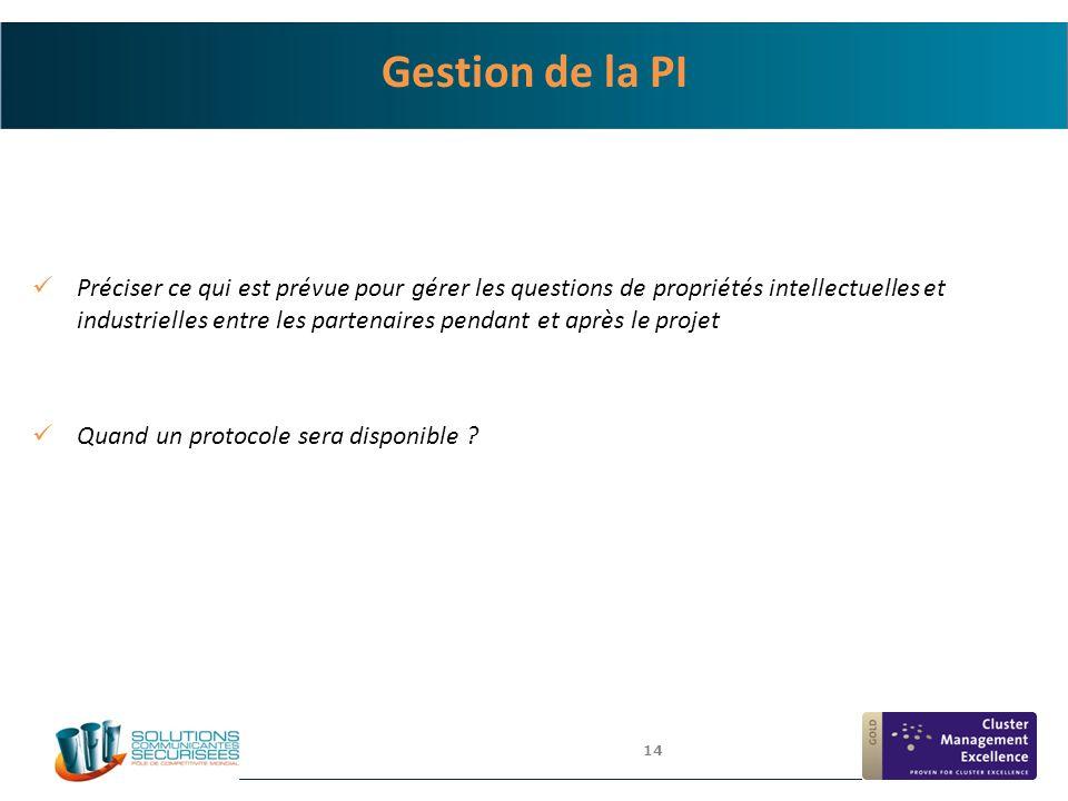 14 Gestion de la PI Préciser ce qui est prévue pour gérer les questions de propriétés intellectuelles et industrielles entre les partenaires pendant e