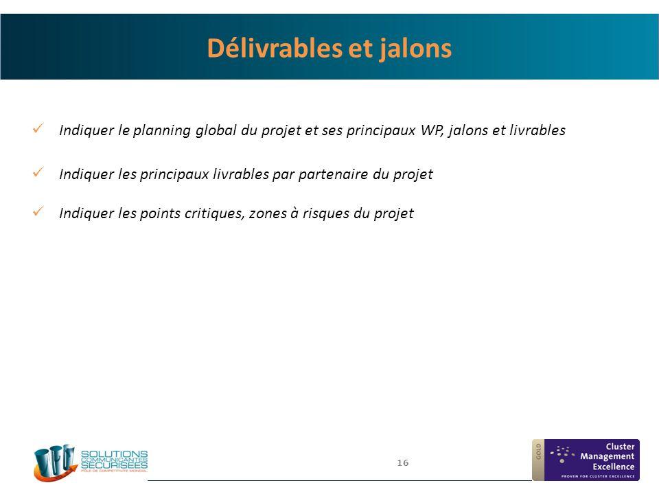 16 Délivrables et jalons Indiquer le planning global du projet et ses principaux WP, jalons et livrables Indiquer les principaux livrables par partena