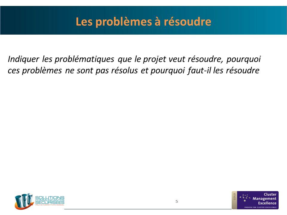 5 Les problèmes à résoudre Indiquer les problématiques que le projet veut résoudre, pourquoi ces problèmes ne sont pas résolus et pourquoi faut-il les