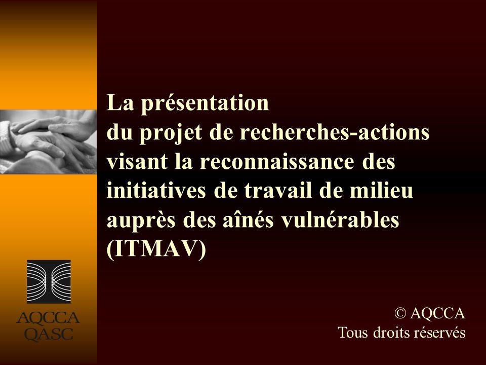 La présentation du projet de recherches-actions visant la reconnaissance des initiatives de travail de milieu auprès des aînés vulnérables (ITMAV) © AQCCA Tous droits réservés