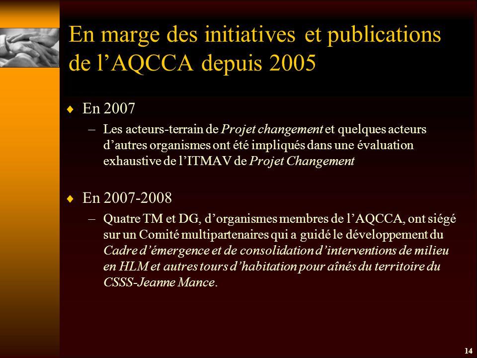 En marge des initiatives et publications de l'AQCCA depuis 2005  En 2007 –Les acteurs-terrain de Projet changement et quelques acteurs d'autres organismes ont été impliqués dans une évaluation exhaustive de l'ITMAV de Projet Changement  En 2007-2008 –Quatre TM et DG, d'organismes membres de l'AQCCA, ont siégé sur un Comité multipartenaires qui a guidé le développement du Cadre d'émergence et de consolidation d'interventions de milieu en HLM et autres tours d'habitation pour aînés du territoire du CSSS-Jeanne Mance.