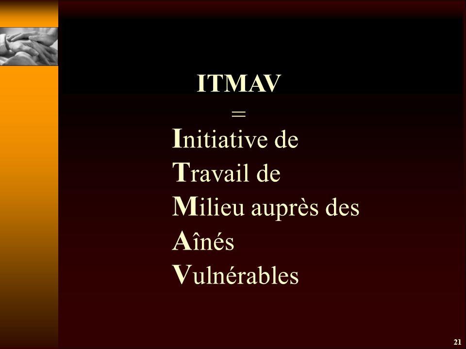 21 I nitiative de T ravail de M ilieu auprès des A înés V ulnérables ITMAV =